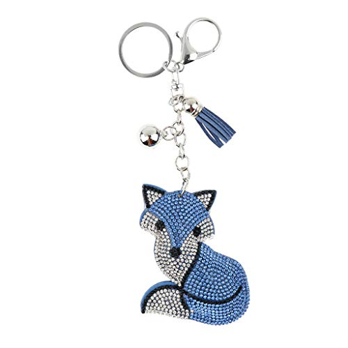- NATFUR New Crystal Metal Animal Pendant Keychain Car Bag Key Ring Chain Keyfob Pretty Cute Holder Perfect for Girls Pretty Novelty Great Fine Beauteous | Color - Blue