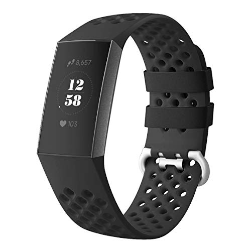 DEKER Sport Bands Compatible for Fitbit Charge 3 Bands Charge 3 SE Fitness Tracker Women Men, Breathable Holes Silicone Smart Watch Strap Small Large Accessories Wristbands (Black, Medium)