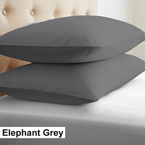 2-Piece- Euroshams ~ Solid Pattern 100% Pima Cotton 500 Thread- Count European Super Soft 2 PC Pillow Cases ( 26 x 26 Inch (66cm x 66cm ) , Elephant Grey) - Sham European Pillow