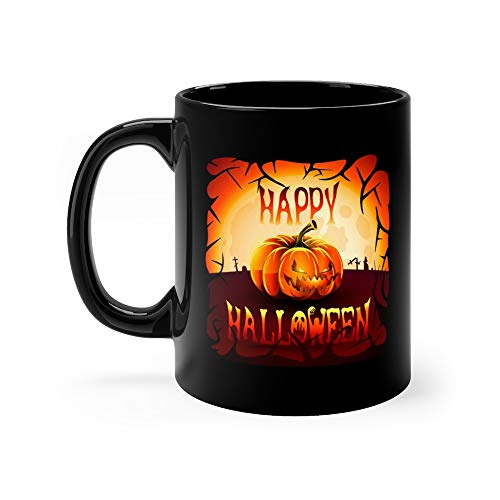 Happy Halloween Pumpkins With Luminous Eyes And Mouth On The Background Of Glowing Moon Cemetery All Saints Eve Coffee Mug 11 Oz Ceramic ()