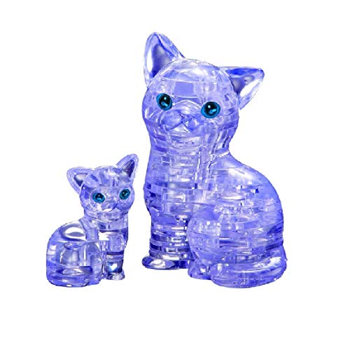 Bepuzzled Original 3D Crystal Puzzle - Cat & Kitten, Clear - Fun yet challenging brain teaser that will test your skills and imagination, For Ages 12+
