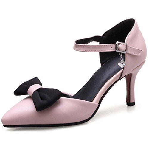 COOLCEPT Mujer Moda Correa de Tobillo Sandalias Tacon de Aguja Cerrado Zapatos con Bowknot Tamano Rosado