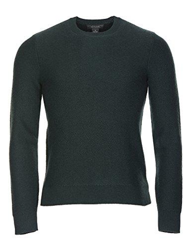 - Bloomingdale's Cashmere Herringbone Crewneck Sweater Small Hunter Green Knitwear
