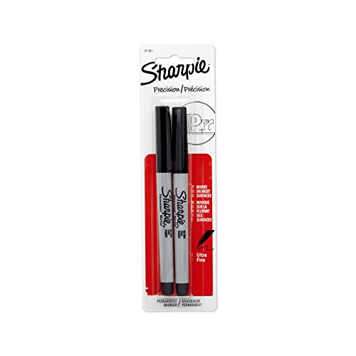 Sharpie Permanent Markers, Ultra Fine Point, Black, 2 Count (Extra Fine Sharpie compare prices)