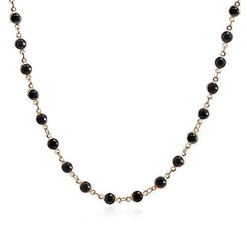 Bria Lou Rose Gold Flashed Black Crystal Chain Link Necklace, 18 Inches by Bria Lou
