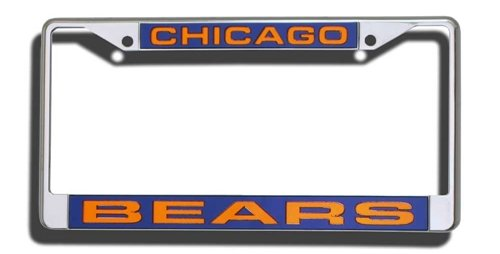 Chicago Bears Laser Cut Chrome License Plate Frame (Laser Chicago License Plate Bears)