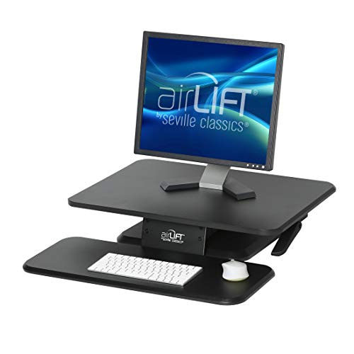 "Seville Classics OFF65864 AIRLIFT 25"" Gas-Spring Height Adjustable Standing Desk Converter Workstation Ergonomic Monitor Riser with Keyboard Tray, Compact, Black"