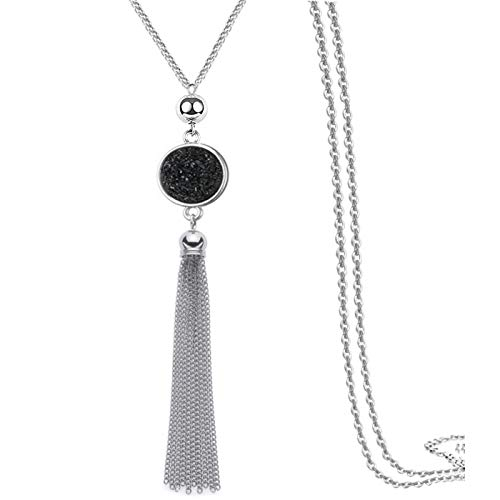 (Multi Link Tassel End Statement Y Necklace Snake Chain Neck Pendant for Lady)