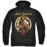 Trevco Mortal Kombat XI Scorpion Flames Unisex Adult Pull-Over Hoodie for Men and Women, Medium Black