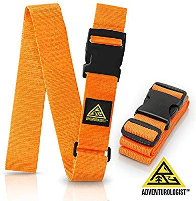 - TRAVEL LUGGAGE STRAP- SET OF 2 ORANGE ADJUSTABLE STRAPS - Best Belt to Keep Your Bags Secure and Spot Your Suitcase