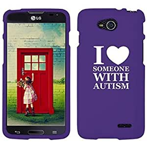 LG Optimus L90 D405 D410 D415 Snap On 2 Piece Rubber Hard Case Cover I Love Heart Someone with Autism (Purple)