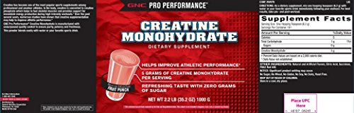 GNC Pro Performance Creatine Monohydrate 5000 Fruit Punch 2.2 lbs.