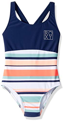 (Roxy Big Girls' Happy Spring One Piece Swimsuit, Bright White on My Way Swim, 8)