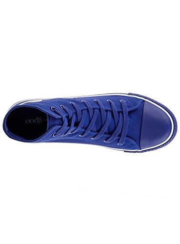 oodji Ultra Herren Hohe Stoff-Sneaker Blau (7500N)