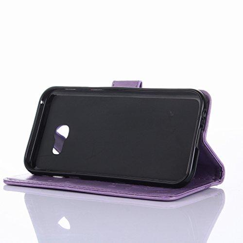 Yiizy Samsung Galaxy A5 (2017) Custodia Cover, Erba Fiore Design Sottile Flip Portafoglio PU Pelle Cuoio Copertura Shell Case Slot Schede Cavalletto Stile Libro Bumper Protettivo Borsa (Chiaro Porpora