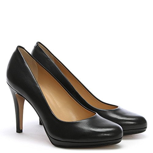 Maria Lya Black Leather Low Platform Court Shoes Black Leather WqudnnQk