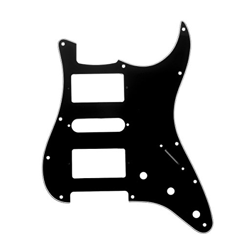 Musiclily Pro 11 Hole HSH Guitar Strat Pickguard Humbuckers for Fender American/Mexican Standard Stratocaster Modern Style, 3Ply Black