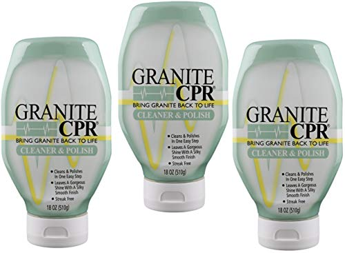 Granite CPR (Value 3-Pack of 18oz Bottles) - 2-in-1 Cleaner & Polish is Gentle Enough for Daily Use & Tough Enough to Restore Granite, Marble, Stone to Its Original Luster