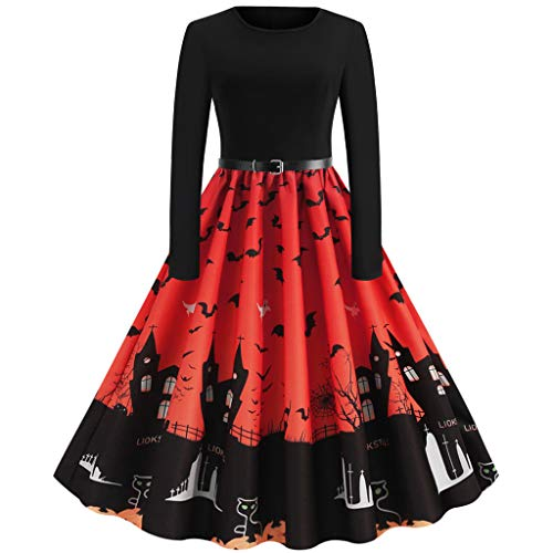 KLFGJ Halloween Cocktail Dresses Womens Long Sleeve Swing Dress Pumpkin Printed Cosplay Party Costume