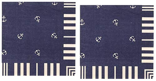 40 Count Nautical Themed Navy Blue Paper Napkins with Anchor Design | For Baby Shower, Bridal, Bachelorette, Birthday and Anniversary Party | Set of 2 packs of 20 | By Ulster Weavers