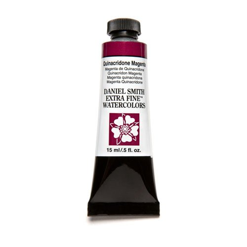 Magenta Water - DANIEL SMITH 284600090 Extra Fine Watercolor 15ml Paint Tube, Quinacridone, Magenta