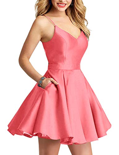 Bess Coral Bridal Dress Pockets Prom Women's Backless Short Party Bow Homecoming with 77qZrw