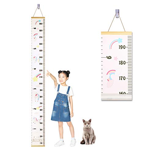 Accmor Child Growth Chart, Wood Frame Fabric Canvas Kids Growth Chart Height Measurement Ruler with Removable Hook, Adorable Hanging Wall Ruler Baby Growth Chart for Child - 78.7'x7.87'' (Unicorn)