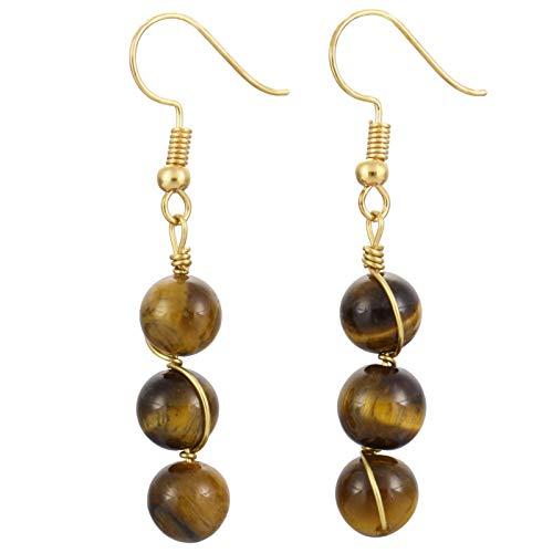 (TUMBEELLUWA Stone Dangle Earrings Healing Crystal Beads Copper Wire Wrapped Hook Drop Earring Handmade Jewelry for Women,Tiger's)