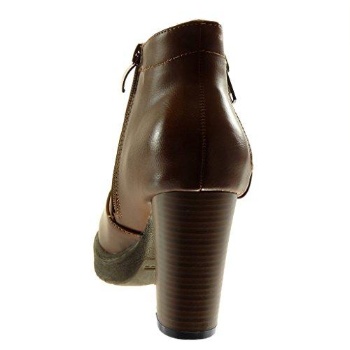 Angkorly Women's Fashion Shoes Ankle Boots - Booty - Cavalier - Biker - Platform - Zip - Studded Block High Heel 9 cm Camel 5ScgKiJv