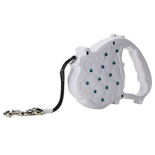 Luxtrac by Chrome Bones Tiffany Crystal Retractable Pet Leash, White by Luxtrac by Chrome Bones