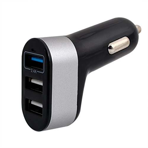 Antemall(TM) 25.5W Total 5.1A (2.4A 1.5A 1.2A) Output 3-Port Aluminum Panel Rapid USB Car Charger for IPhone,IPad,Ipad Mini,IPod,Samsung,Nokia,HTC,Android Smartphones,Tablet and More Digital Devices