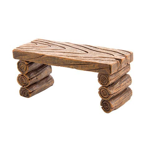 Set of Three (3) Miniature Fairy Garden Realistic Tiny Log-Like Resin Furniture - Includes Mini Table, Bench, Teeter Totter - All Measuring Between 1'' - 3'' - for Outdoor or House Decor or Dollhouse