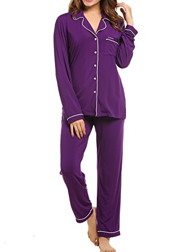 (Ekouaer Pajamas Women Soft Lingerie Sleepwear Set(Purple, Large))