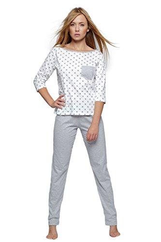 made Pigiama Con Sensis abbigliamento EU pantalone da Grigio maglietta cotone e in Bianco casa composto da trendy Stelline in lungo OUdwrqUf