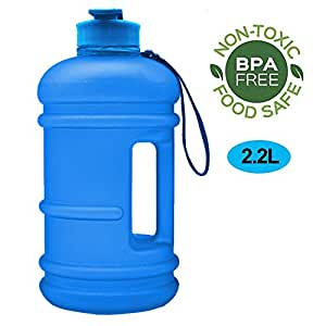 RICWINANN Water Jug 2.2L Large Sport Water Bottle Big Capacity Leakproof Container BPA Free Plastic with Carrying Loop Fitness for Camping Training Bicycle Hiking Gym Outdoor, 2.2L-Matte Blue