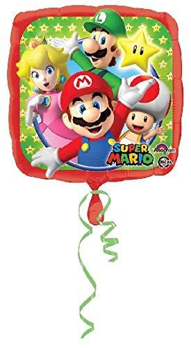 Globo pequeño Cuadrado Aluminio Super Mario 23 x 23 cm ...