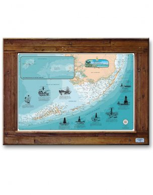 - Sealake Products Florida Keys Lighthouses Chart Map (Lobster Trap Dark Wood Frame, Large)