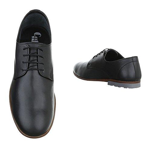 Negro Hombre Design Ital con Planos Zapatos Hombre Negro Cordones gnOq6 in stereo dd36f9