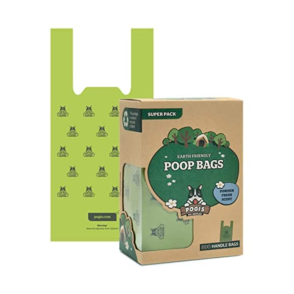 Pogi's Poop Bags – 300 Bags with Easy-Tie Handles – Large, Earth-Friendly, Scented, Leak-Proof Pet Waste Bags