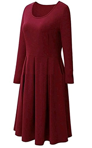 Confortable Balançoire Solide Plissée Femmes Encolure Ras Du Cou À Manches Longues Robe Rouge Cru De Vin