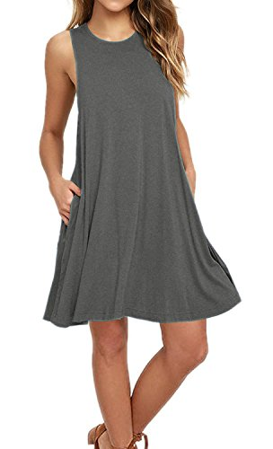 AUSELILY Women's Sleeveless Pockets Casual Swing T-Shirt Dresses (M, Gray)