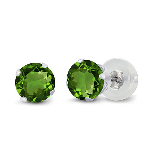 Gem Stone King 1.00 Ct Round Green Chrome Diopside 10K White Gold 4-prong Stud Earrings 5mm