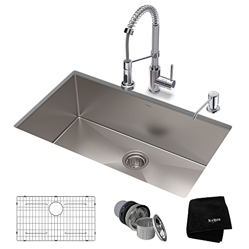 (KRAUS KHU100-32-1610-53CH Set with Standart PRO Stainless Steel Sink and Bolden Commercial Pull Faucet in Chrome Kitchen Sink & Faucet)