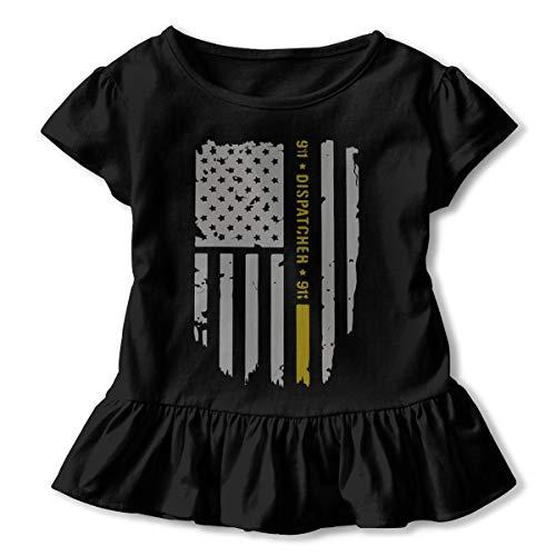 UyO0ij@ Girls' Short Sleeve 911 Dispatcher Thin Gold Line T-Shirts, Fashion Tunic Shirt Dress with Flounces, 2-6T