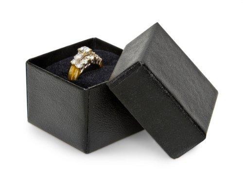 BLACK Embossed Ring Jewelry Boxes1-5/8x1-5/8x1-1/4'' w/ Black Insert (1 unit, 100 pack per unit.)
