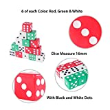 Assorted Colorful Dice in White, Red, Green for