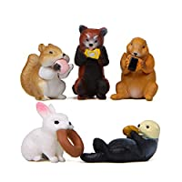 HanYoer 5 pcs Lovely Animal Characters Toys Figurines Playset, Garden Cake Decoration, Cake Topper