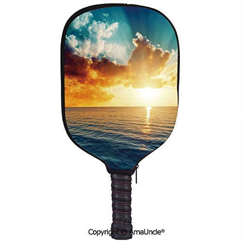 SCOXIXI 3D Pickleball Paddle Racket Cover Case,Majestic Sunset Over The Sea Scenic Idyllic Aquatic View Morning PictureCustomized Racket Cover with Multi-Colored,Sports Accessories