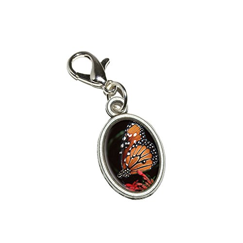 Graphics and More Monarch Butterfly on Red Flower Antiqued Bracelet Pendant Zipper Pull Oval Charm with Lobster Clasp -