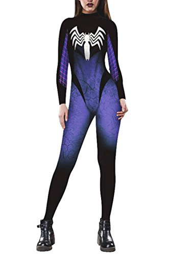 Funcok 2018 Halloween Costume Spider Pinting Costume One Piece Jumpsuit for Women L Blue